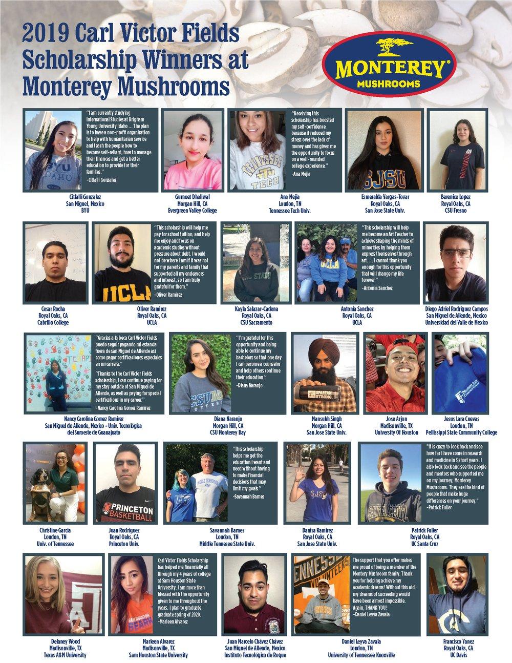 Monterey Mushrooms Academic Scholarship