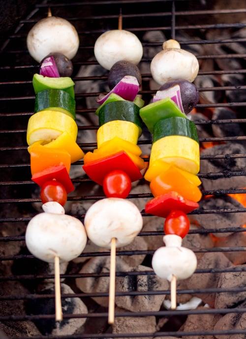 rainbow vegetable kebabs with italian marinade and mushrooms