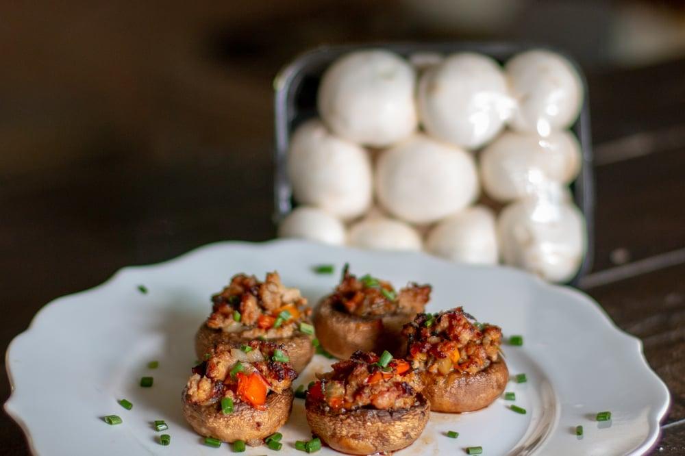 Hot italian stuffed mushrooms