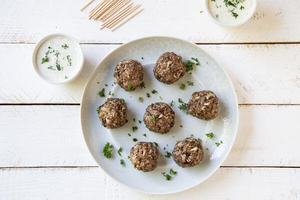 Lamb and Mushroom Blended Meatballs with Cucumber Yogurt Dipping Sauce