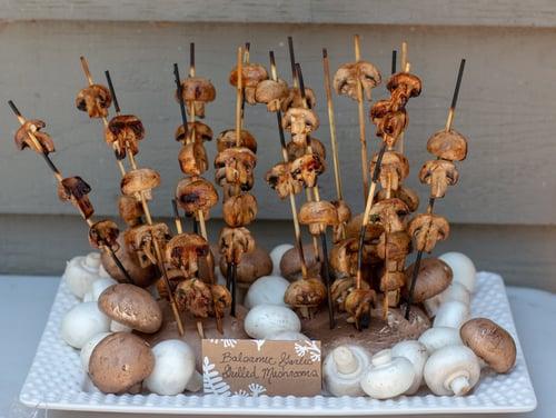 balsamic garlic marinated mushroom skewers