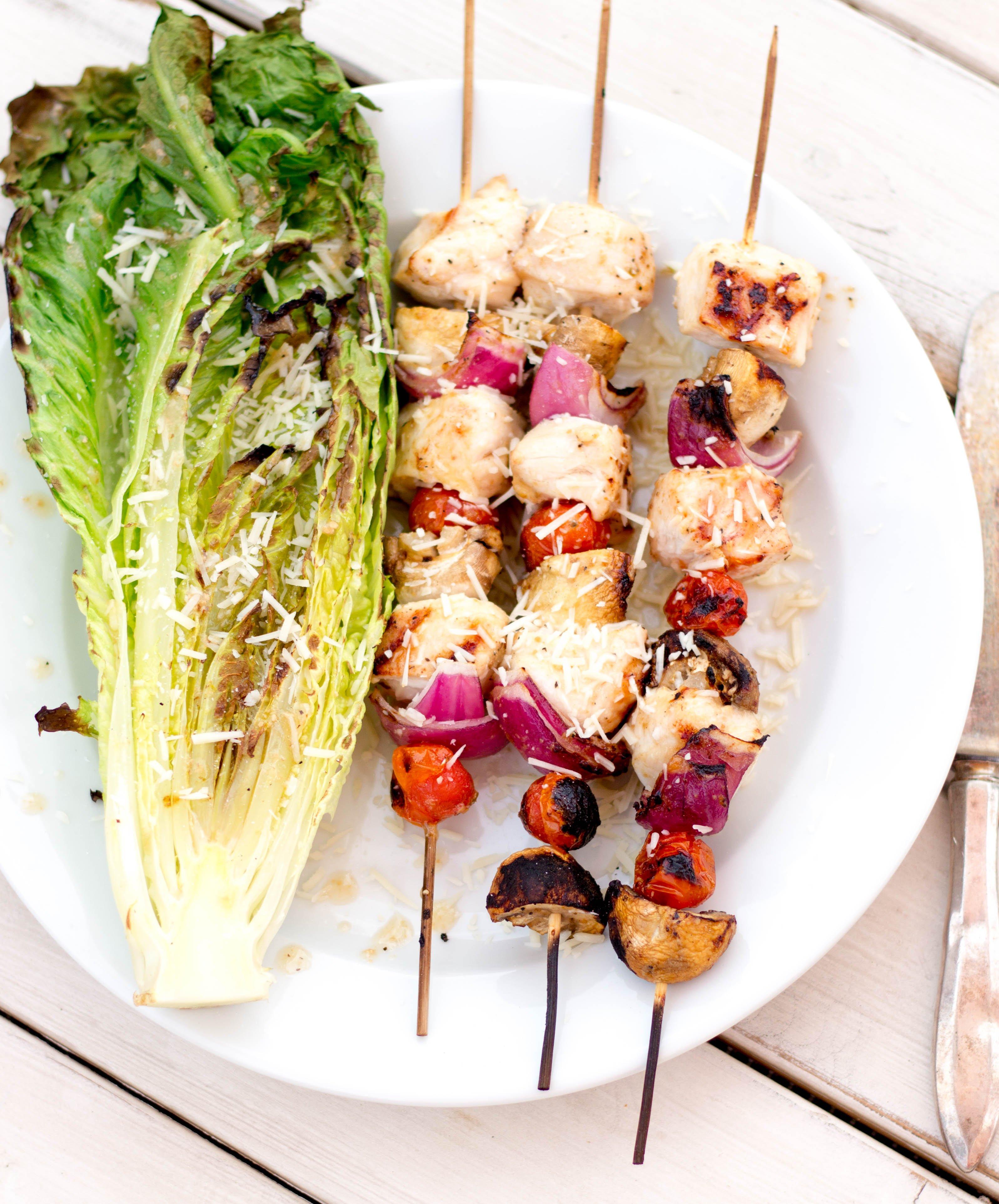Grilled Chicken Caesar Salad Kebabs